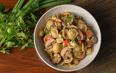 Mushroom Orecchiette with Bell Pepper & Goat Cheese