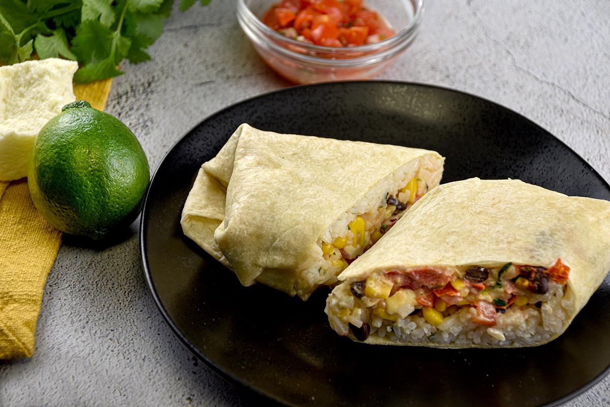 Veggie Burrito with Lime Crema