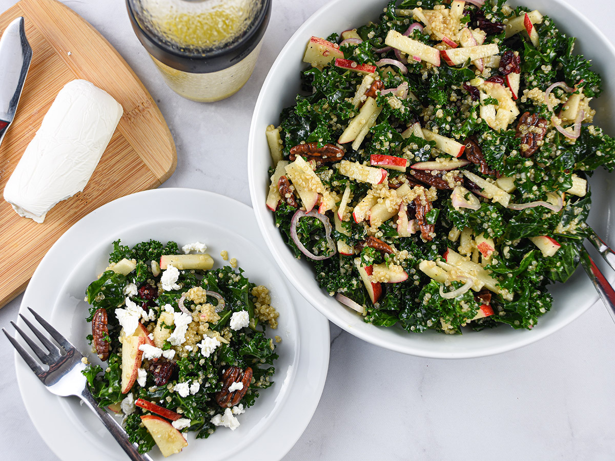 Kale and Quinoa Salad with Apples and Goat Cheese