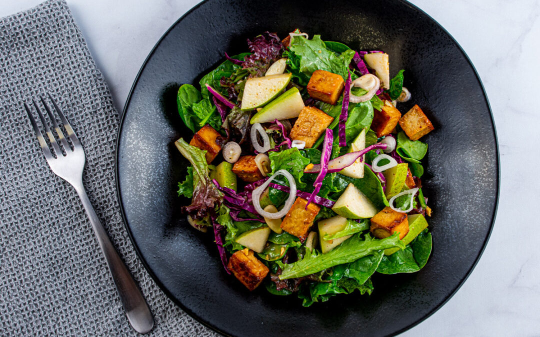 Tofu and Pear Salad with Miso Ginger Vinaigrette